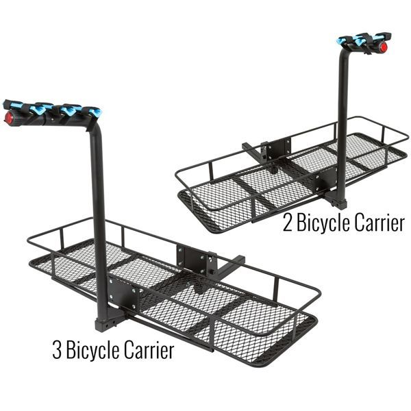 "Folding hitch cargo basket with 2 or 3 bicycle carrier. Fits most 2"" receivers. Rubber cradles grip bike frame and Velcro straps secure bikes during transport. Safety reflector provides visibility."