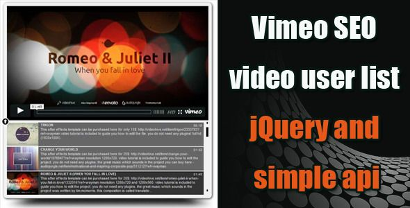 Vimeo SEO Video Playlist jQuery . compatible with jquery