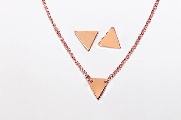 9ct solid rose gold triangle and earring set- handmade by Brown + Brown Jewelry.