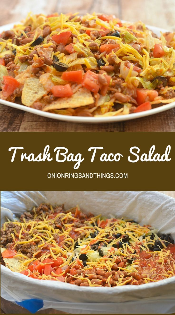 Trash Bag Taco Salad is a fun and easy salad to prepare for potlucks and parties. It's loaded with taco meat, shredded lettuce, and all the trimmings for a sure crowd-pleaser and everything gets tossed together in a trash bag for quick clean up. #ad #Heftyhelper #heftyheftyhefty /hefty/