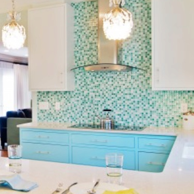 Turquoise Backsplash Tile Fab Kitchens Pinterest