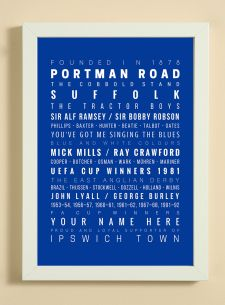 Showcasing some of the words, facts, dates and player names that we associate with Ipswich Town Football Club.  A great item for yourself if you are a fan or as a gift for someone that is.  The print also has a line to enable you to add a name -  see 'YOUR NAME HERE' on print.