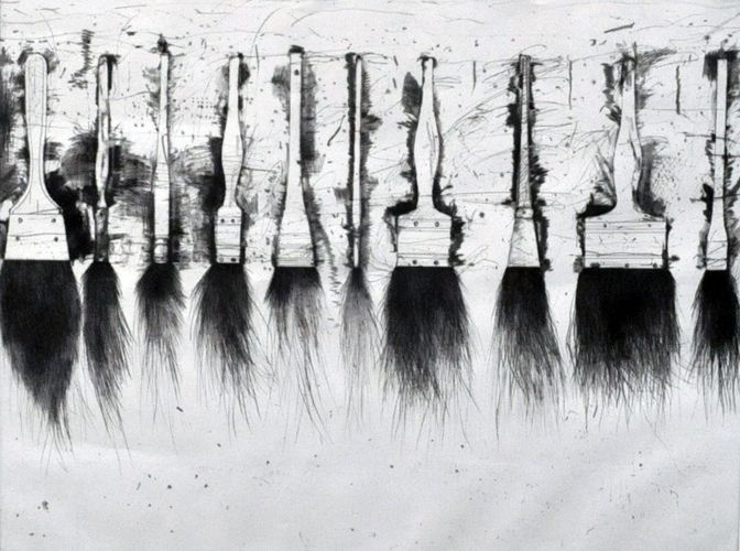 """Jim Dine """"Five Paintbrushes (3rd State) 1973"""" Limited Edition Print Etching 20 x 28 in   52 x 72 cm"""