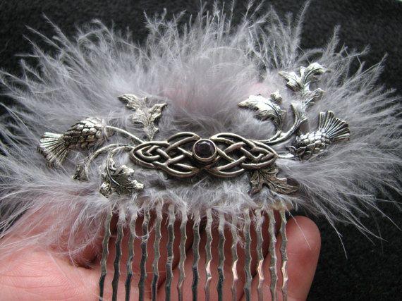 Keltische haar Zilveren knoop Thistle Schotse bruiloft