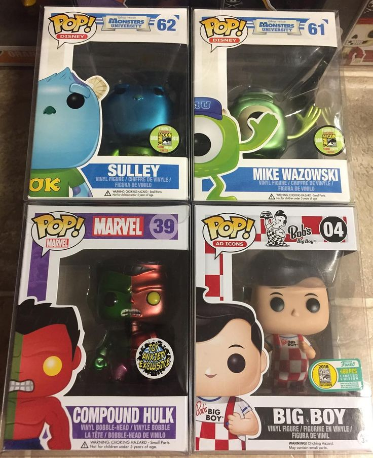 The final grail items for our March Funko Mystery Boxes. Sdcc Mike and Sulley. With funkos Announcement of the new Monster Inc pops we had to add these great shiny pieces to the mix. Metallic compound hulk a very high end Marvel piece and a must have for all Marvel Collectors. Last but not least our top pop in our March Mystery Boxes is everyones favorite line Ad Icons. Bobs Bog Boy. This Pop is  and on the rise in value. Soon to be over $1000 in the coming months.. We are nearly 50% Sold…