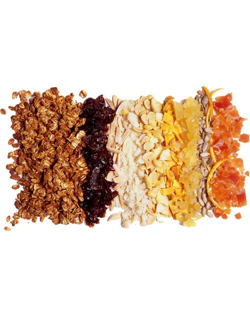 Basic Healthy Granola:    2 teaspoons canola oil  1 1/4 cups regular rolled oats  1/8 cup flax meal  1 teaspoon cinnamon  Pinch of salt  1/4 cup apple juice  2 tablespoons maple syrup  2 tablespoons honey  1 tablespoon brown sugar, optional when adding dried fruit