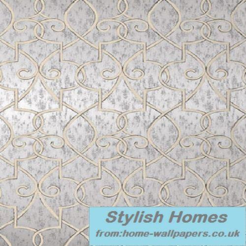 Home Wallpapers Supply Thibaut Designer Wallpaper Geometric Resource Grayden Metallic Silver