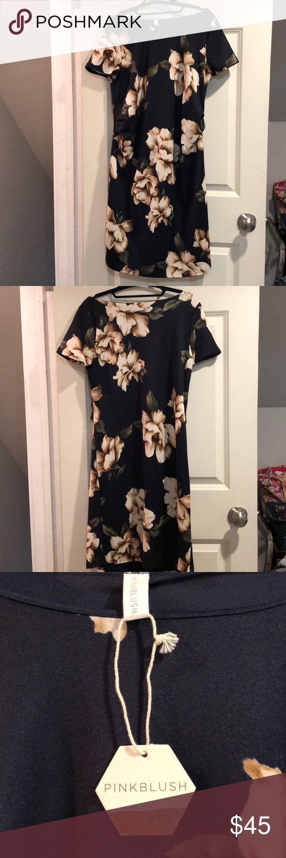 Pinkblush Floral Maternity Dress Brand New! Floral maternity dress navy blue with white and brown flowers. Room for the bump! Fitted Pinkblush Dresses