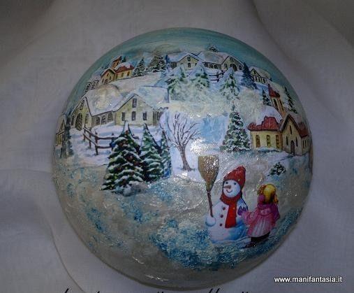 sfere natalizie decoupage pittorico tecnica spiegazioni
