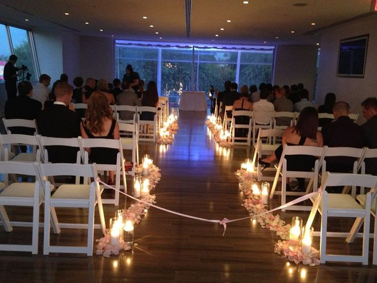 Various Height Votives And Candles With Flower Petals Phoenix Scottsdale Wedding Ceremony Venue Aisle Decor The Clayton On Park