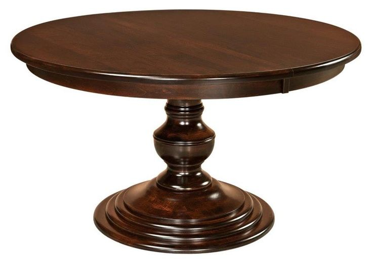 Amish Kingsley Single Pedestal Dining Table The rounded Amish Kingsley Single Pedestal Dining Table is custom made for special meals and socializing. Available in three sizes.
