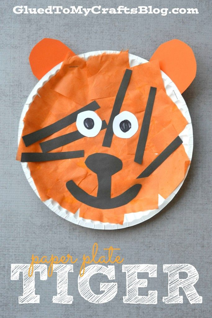 Paper Plate Tiger - Kid Craft #plate_animal_crafts