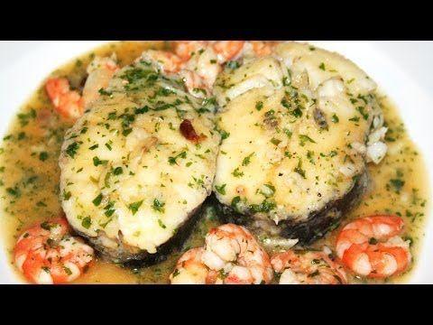 Merluza en salsa con gambas. Recetas de Pescados - YouTube