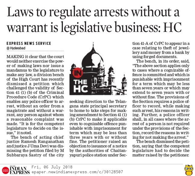 Law To Regulate Arrests Without A Warrant Is Legislative Business Hyderabad High Court Legal Services Criminal Procedure Legal