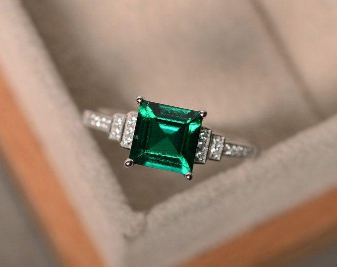 Plaza de laboratorio creado anillo de Esmeralda, plata esterlina, anillo de compromiso corte, mayo birthstone anillo, anillo de promesa