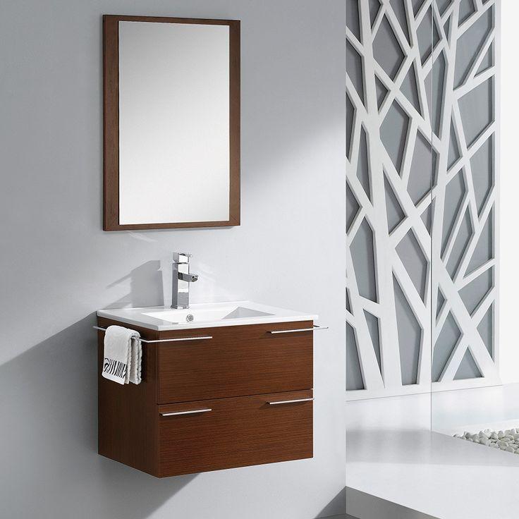 "Fresca Cielo 24"" Wenge Brown Modern Bathroom Vanity w/ Mirror"