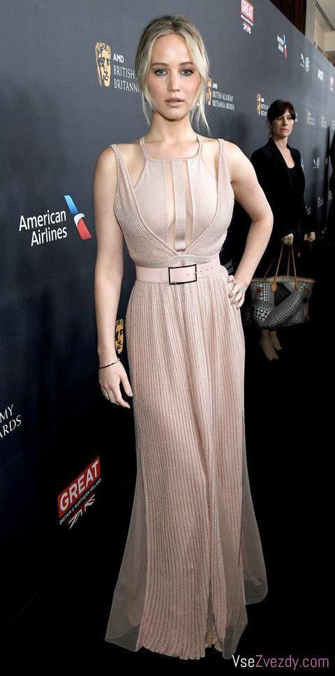 На премьере фильма «Голодные игры» в Британской академии Britannia Awards Дженнифер Лоуренс нарядилась в розовое платье с розовым ремешком от ливанского модного дизайнера Эли Сааб, а макияж Лоуренс был удачно подобран к ее наряду.