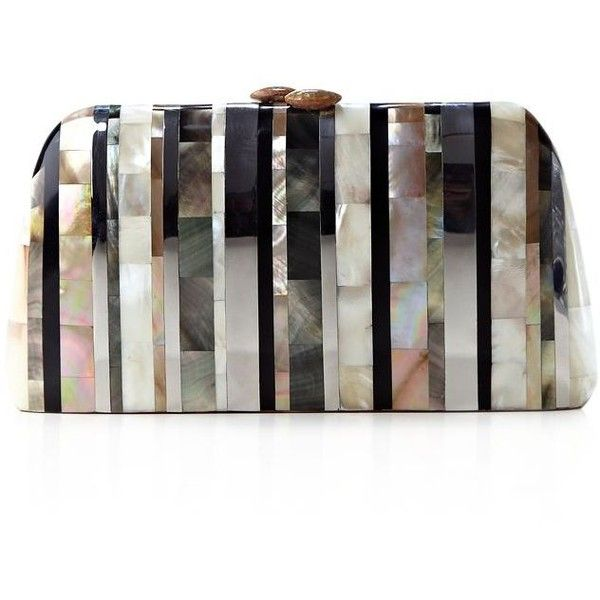Serpui Mother Of Pearl Stripe Clutch found on Polyvore featuring bags, handbags, clutches, natural, mother of pearl handbag, party handbags, white clutches, white purse and striped handbag