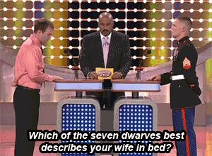 "The time neither contestant would comment on their sex lives in front of their families. | The 22 Best Reactions From Steve Harvey On ""Family Feud"""