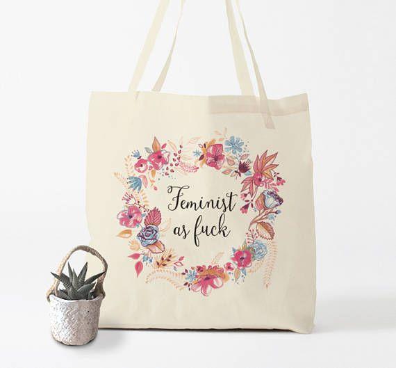 Feminist as Fuck, tote bag, citation féministe par Bambouchic Paris.