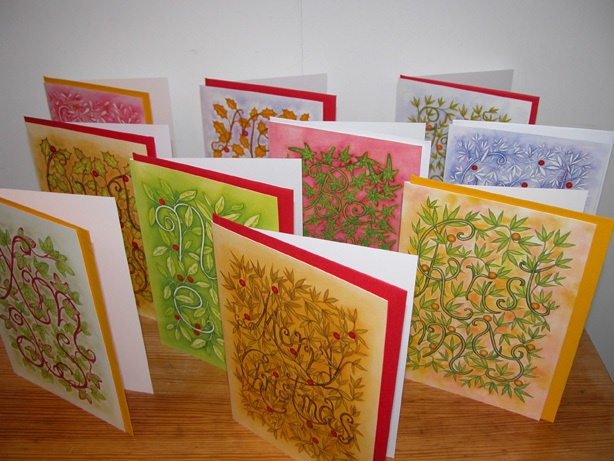 Pack of 10 Christmas Cards Floral Design £5.00