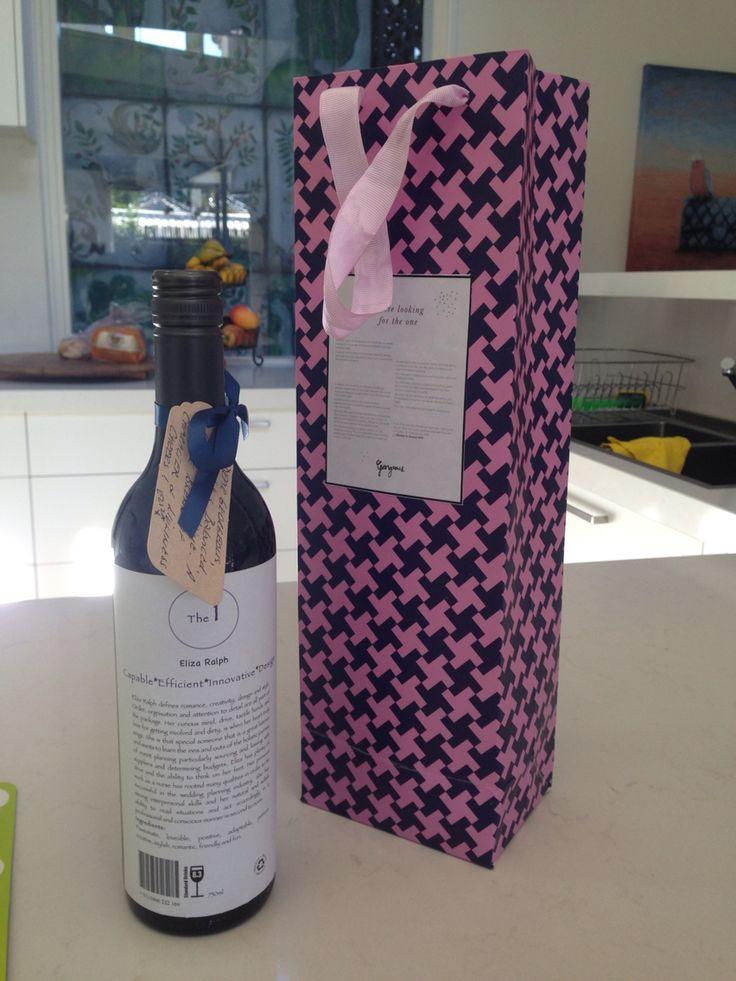 Bottle of wine resume label