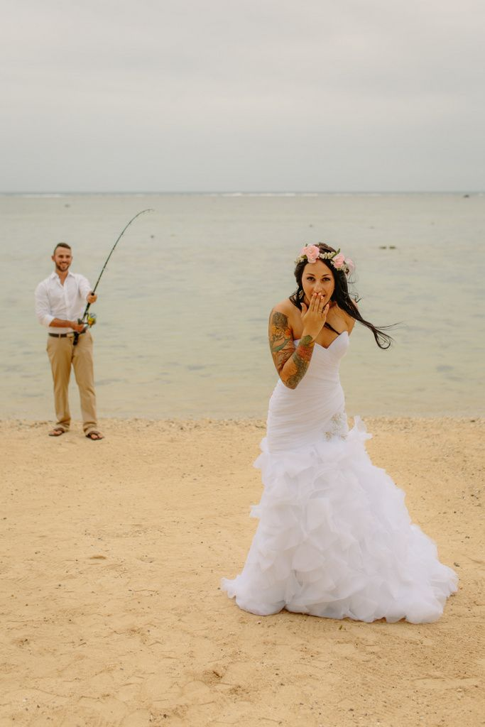 """www.islandencountersphotography.com by Laura Pittman  """"Fishing for a bride!"""""""