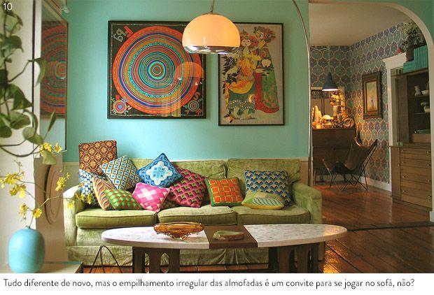 como decorar sofa verde claro almofadas - Pesquisa Google