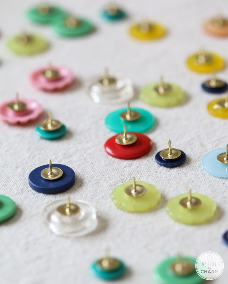 DIY Button Thumb Tacks for colorful bulletin boards. Love this idea from Inspired by Charm