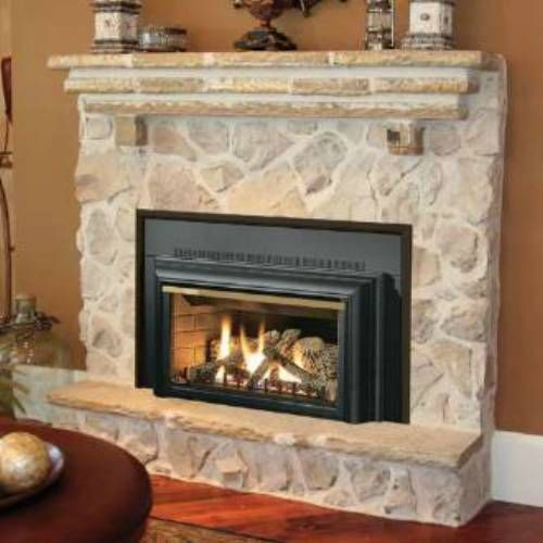 gas insert available in clean burning convenient natural gas or propane clear viewing area through a 400 square inch heat resistant ceramic