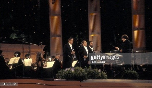Luciano Pavarotti, Placido Domingo, Jose Carreras and James Levine at the Three Tenors in concert, Giants Stadium, East Rutherford on July 20, 1996.