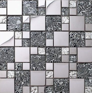 Glass mosaic kitchen backsplash tile stainless steel mosaic ssmt069 glass mosaic bathroom wall - Silver tin backsplash tiles ...
