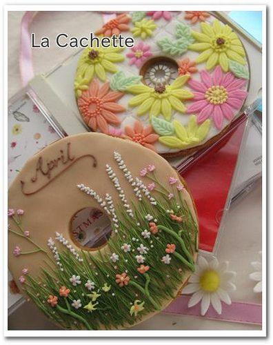 Flower CD cookies
