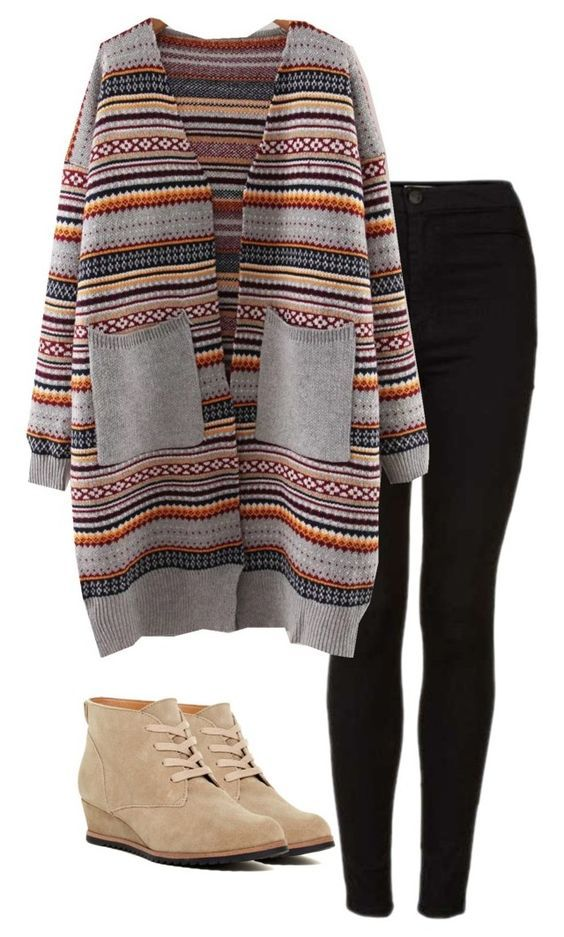 #fall #outfits / Printed Cardigan + Booties