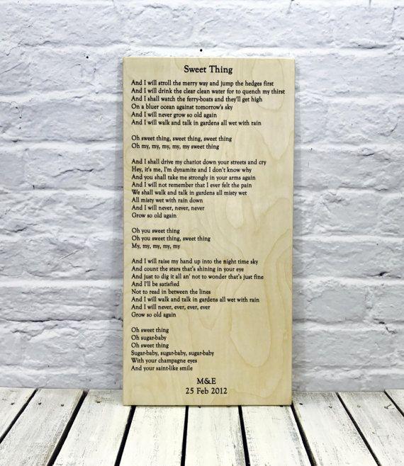 Song Lyric Art Wedding Lyrics Sweet Thing By Madikaydesigns
