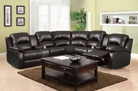 "Aberdeen Collection CM6557BP-PK 117"" 3-Piece Reclining Sectional with Left Arm Facing Console Loveseat Corner Wedge and Right Arm Facing Console Loveseat in Black"