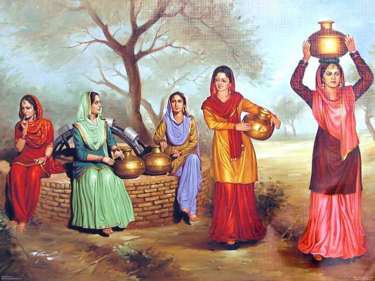 Old Punjabi Culture : Punjabi Ladies Near a Village Well