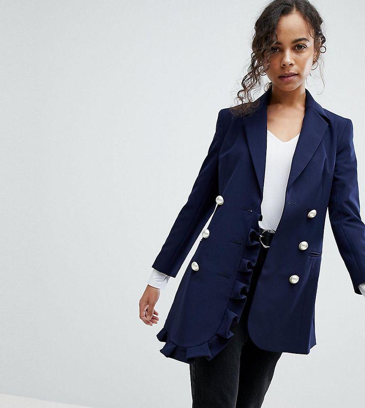 ASOS PETITE - Blazer mit Rüschendetail - Navy Jetzt bestellen unter: https://mode.ladendirekt.de/damen/bekleidung/blazer/sonstige-blazer/?uid=13785b74-3477-5ad5-913c-78c1d44a5e97&utm_source=pinterest&utm_medium=pin&utm_campaign=boards #sonstigeblazer #mäntel #blazer #female #bekleidung #jacken