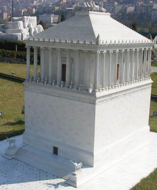 Replica of the Mausoleum of Halicarnassus at Miniapark, one of The Seven Wonders of the Ancient World