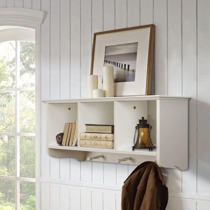 Wall Mounted Coat Rack Wooden With Storage Unit Shelf Modern Hooks Stand Hat     eBay