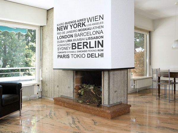 Modernes Design | Die #Wandtattoo Metropolen Passen über Die Verputzte  Wandfläche über Dem Kamin