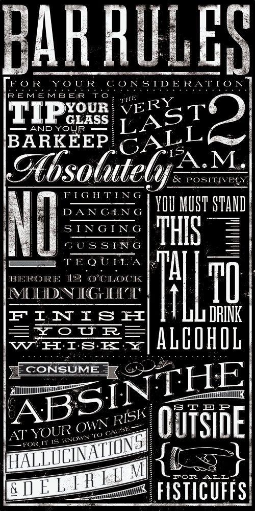 Bar+Rules+typography+graphic+art+original+design+by+geministudio,+$90.00