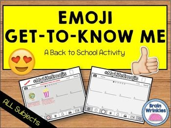 """This activity is a fun spin-off of the popular social media emojis that most (if not all) students are familiar with. Your students will be excited to complete this activity! The students will create new emojis that represent different aspects of their lives. (There is a """"key"""" included so that the students know what to write/draw in each section.)*This file is just a small sample of my complete Back to School Resources for BIG KIDS pack."""