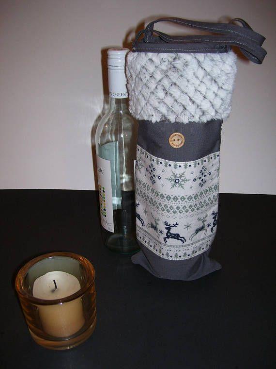 WINE GIFT BAG  reindeer wine bag  reindeer tote bag