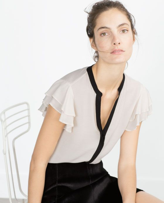 BLOUSE WITH FRILLED SLEEVE from Zara