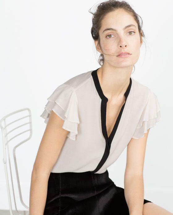 BLUSA MANGA VOLANTES-Blusas-Camisas-MUJER | ZARA México