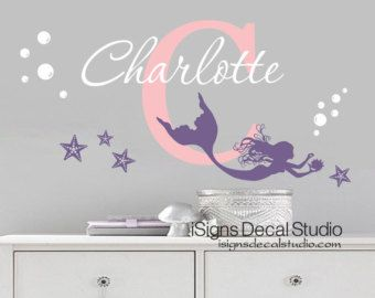 Mermaid Wall Decal Aquarium Bubbles Decal by GetCreativeStudios