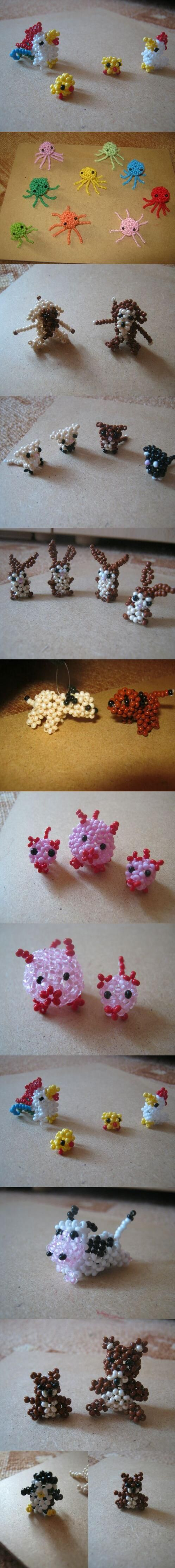 japanese minianimals: hens, octopuses, monkeys, cats, hares, dogs, pigs, cow, bears, penguin and bear cub