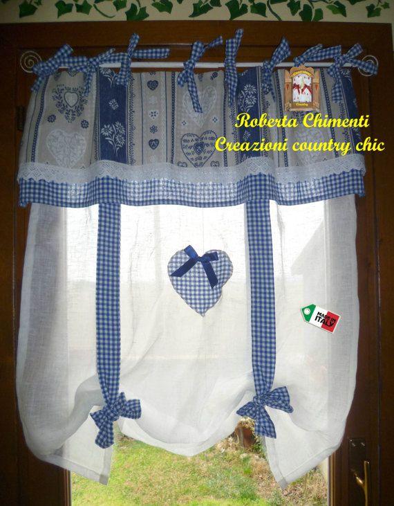 Tenda a vetro shabby-chic, tenda country in lino con mantovana, provenzale, rustica, tirolese, cuore patchwork, con lacci