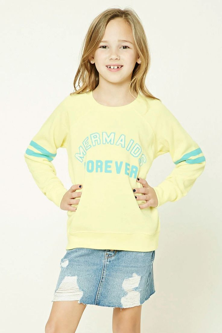 """Forever 21 Girls - A knit sweatshirt featuring a """"Mermaids Forever"""" graphic on the front, varsity stripes, a fleece lining, ribbed trim, a round neckline, and long sleeves."""